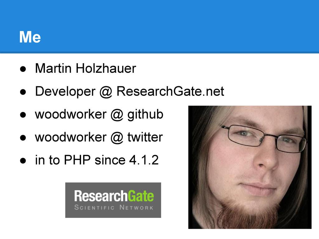 Me ● Martin Holzhauer ● Developer @ ResearchGat...