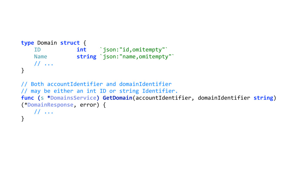 "type Domain struct { ID int `json:""id,omitempt..."