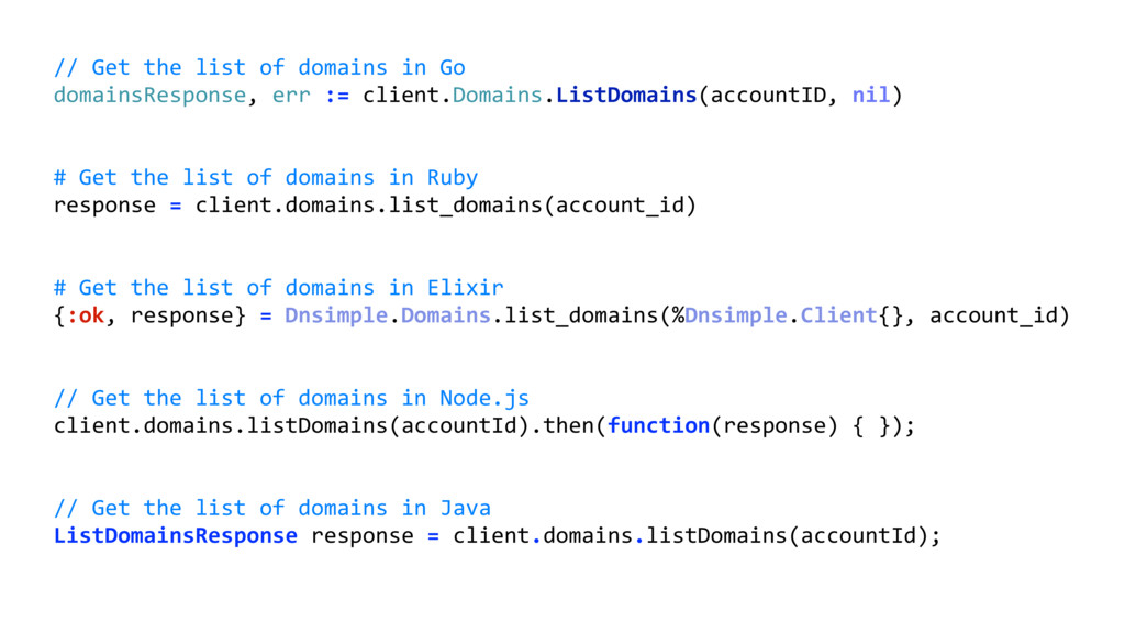 // Get the list of domains in Go