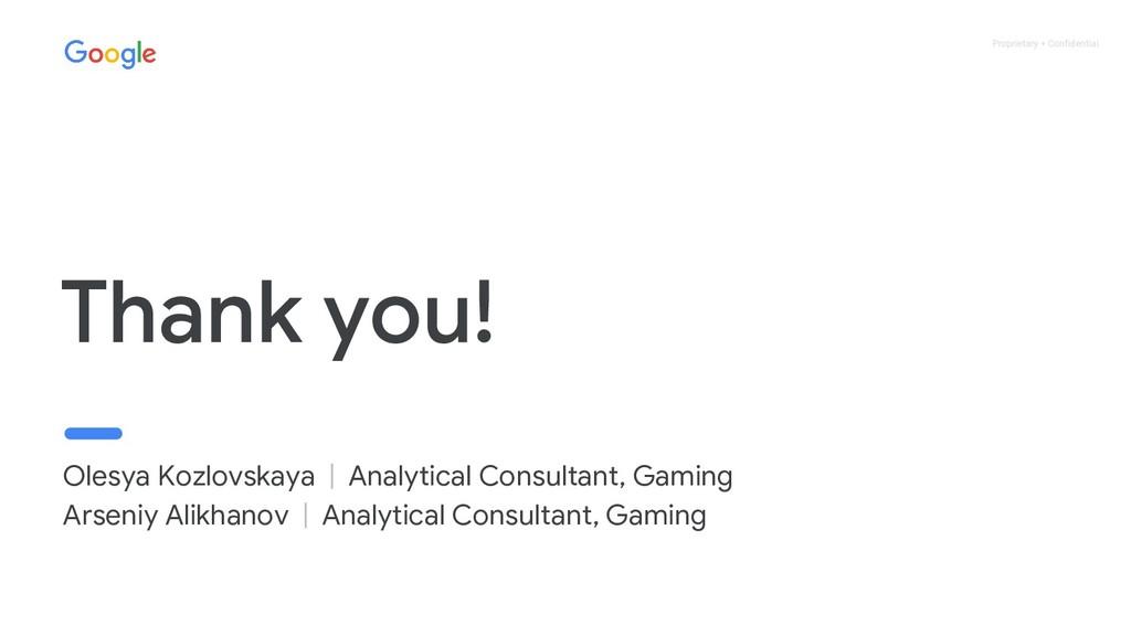 Proprietary + Confidential Thank you! Olesya Ko...