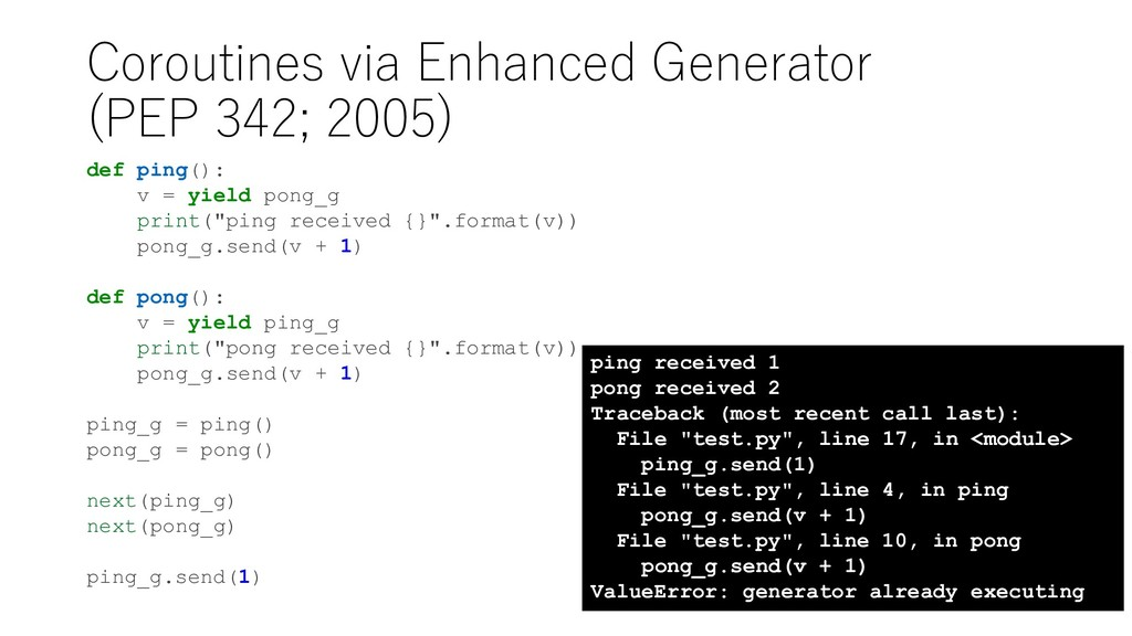 Coroutines via Enhanced Generator (PEP 342; 200...