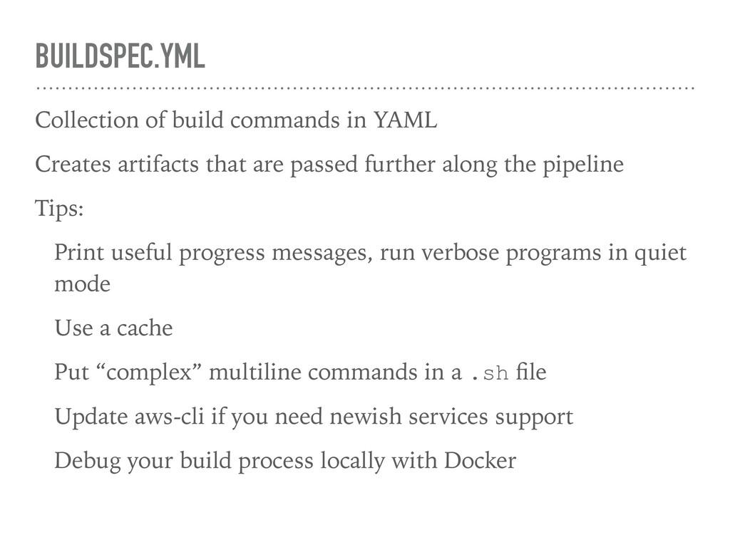 BUILDSPEC.YML Collection of build commands in Y...