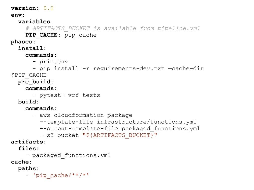version: 0.2 env: variables: # ARTIFACTS_BUCKET...