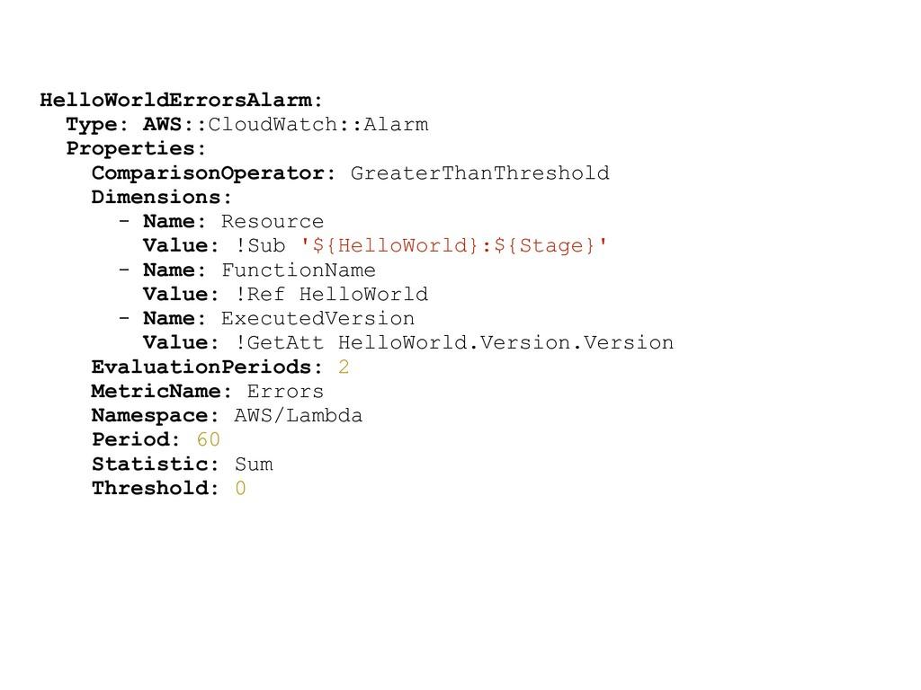 HelloWorldErrorsAlarm: Type: AWS::CloudWatch::A...