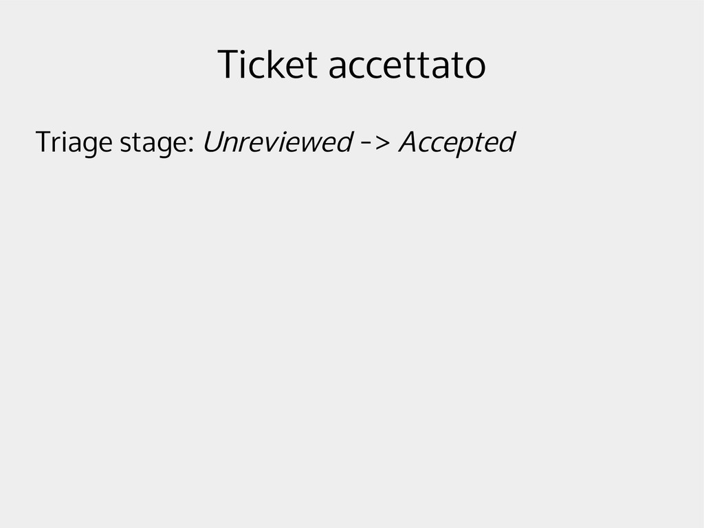 Ticket accettato Triage stage: Unreviewed -> Ac...