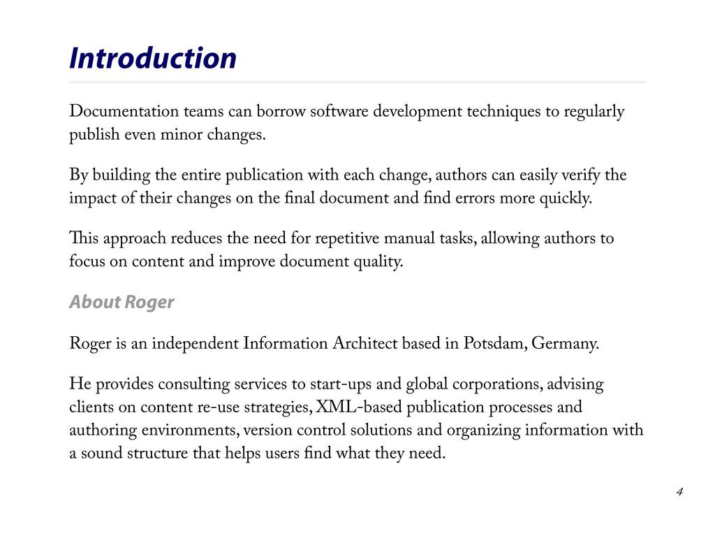 Introduction Documentation teams can borrow sof...