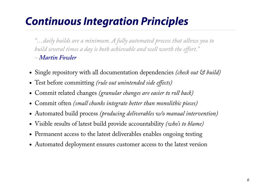 "Continuous Integration Principles ""…daily build..."