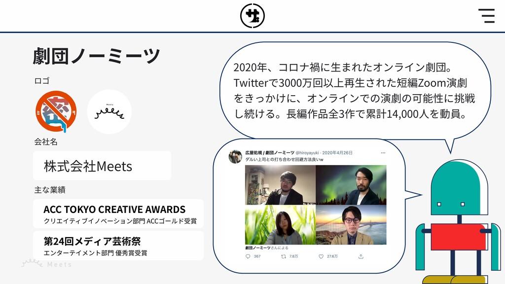 劇団ノーミーツ ロゴ 会社名 株式会社Meets 主な業績 ACC TOKYO CREATIV...