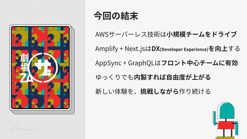 今回の結末 AWSサーバーレス技術は⼩規模チームをドライブ Amplify + Next.js...