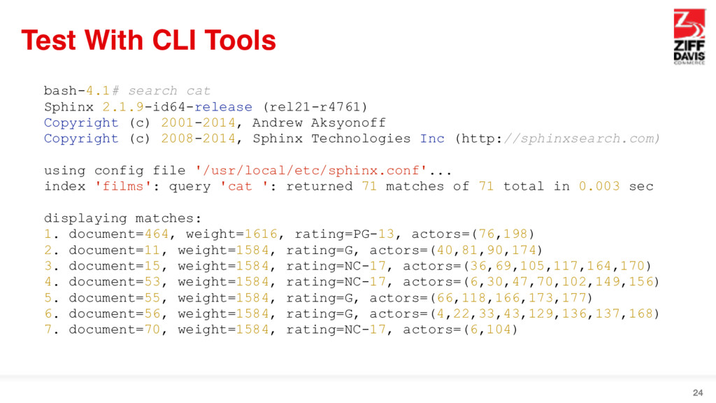 Test With CLI Tools 24 bash-4.1# search cat Sph...