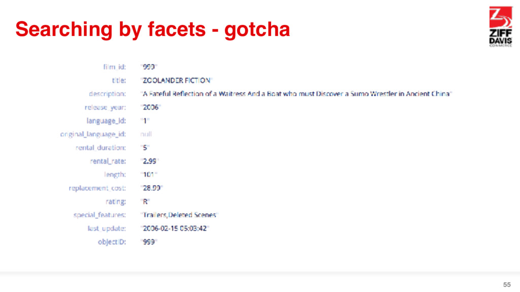 Searching by facets - gotcha 55