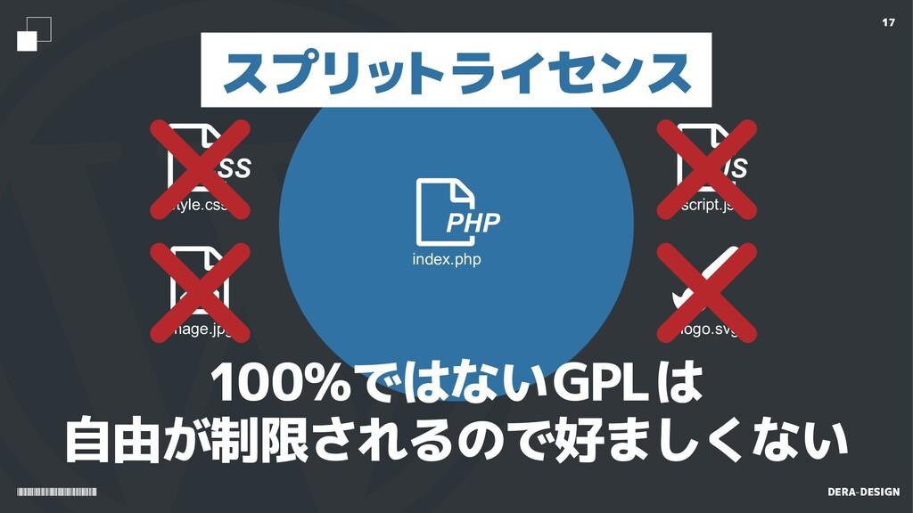 DERA-DESIGN 17 PHP index.php 100%ではないGPLは 自由が制限...