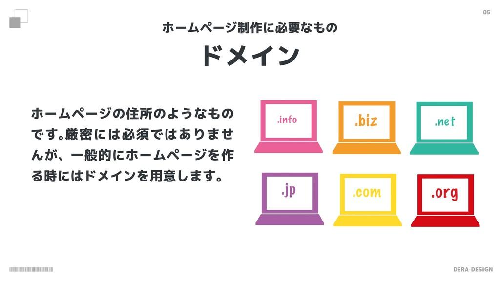 DERA-DESIGN 05 ドメイン ホームページ制作に必要なもの ホームページの住所のよう...