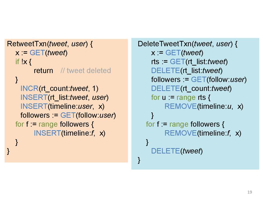 RetweetTxn(tweet, user) { x := GET(tweet) if !x...