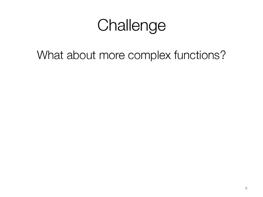Challenge What about more complex functions? ...