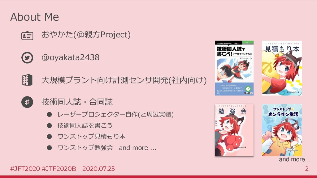 #JFT2020 #JTF2020B 2020.07.25 2 About Me おやかた(@...