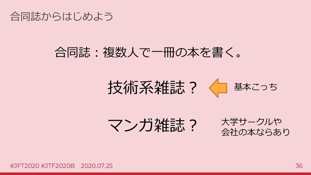 #JFT2020 #JTF2020B 2020.07.25 36 合同誌からはじめよう 合同誌...