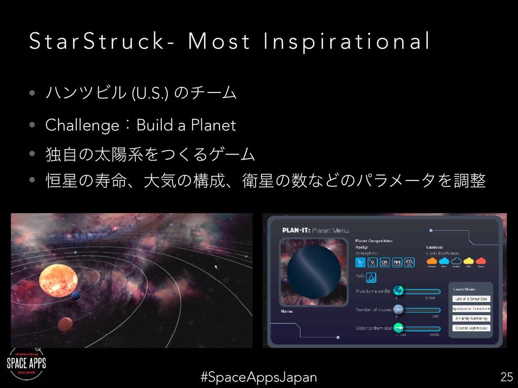 #SpaceAppsJapan S t a r S t r u c k - M o s t I...