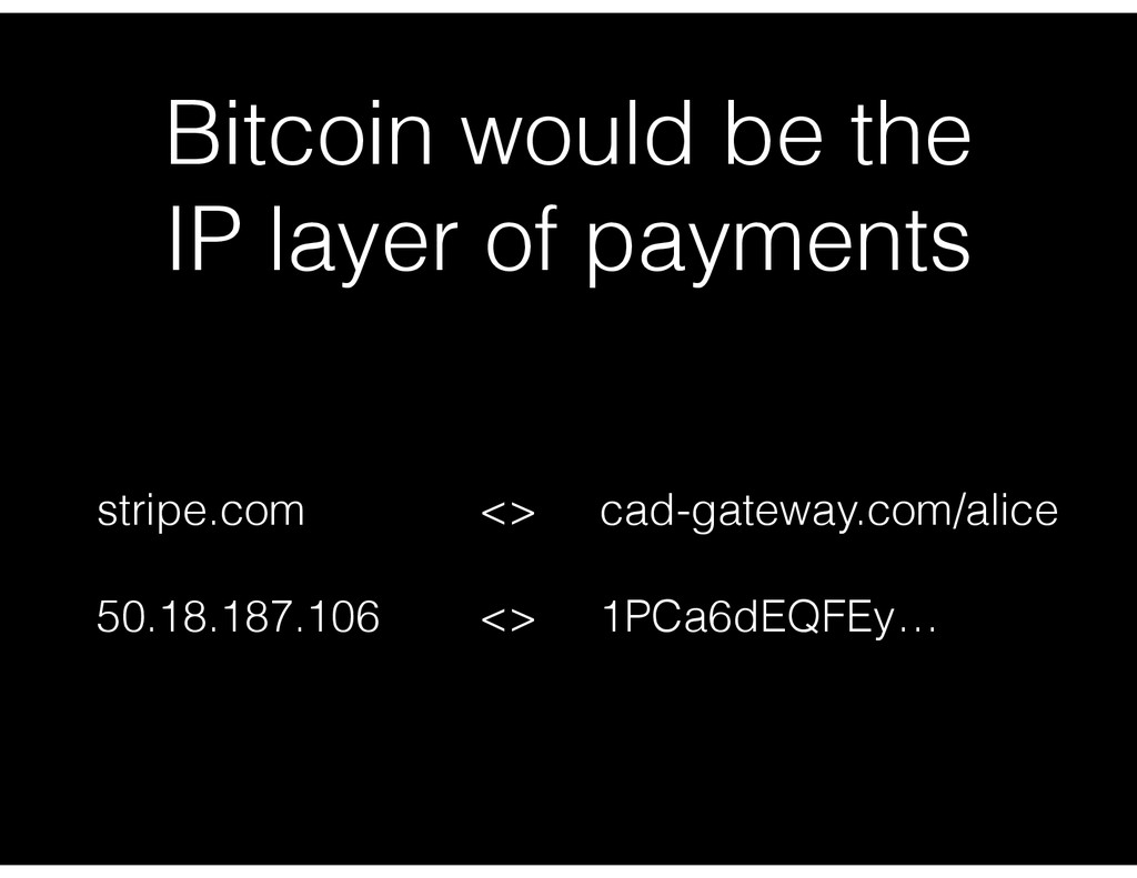 Bitcoin would be the IP layer of payments strip...