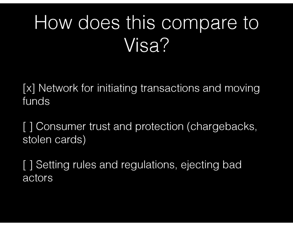 How does this compare to Visa? [x] Network for ...