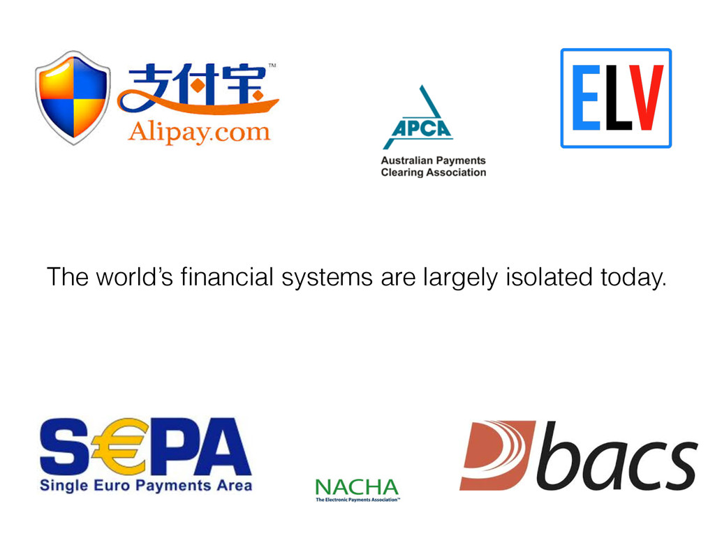 The world's financial systems are largely isolat...