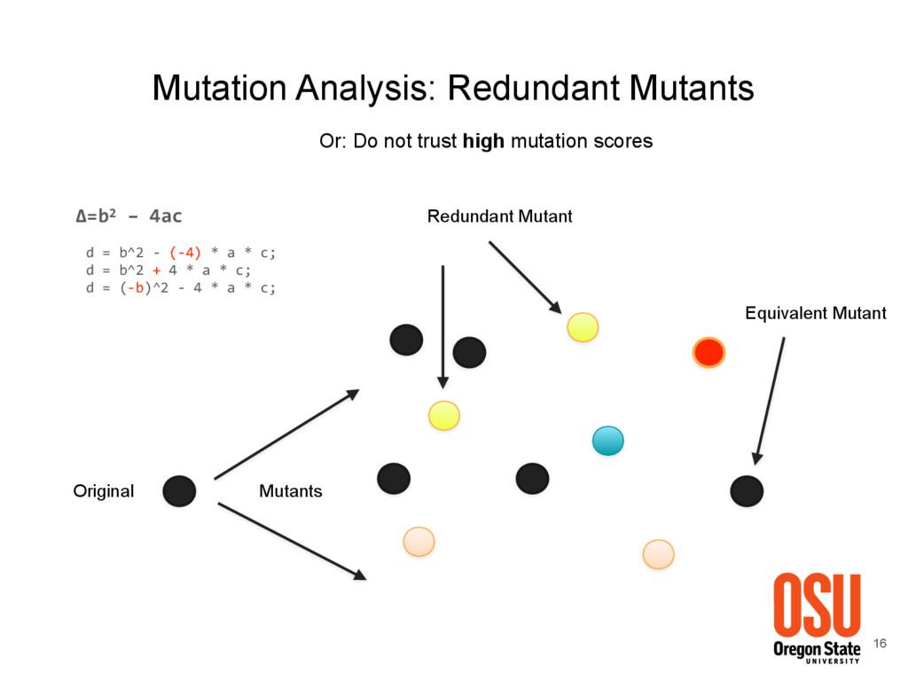 16 Mutation Analysis: Redundant Mutants Mutants...