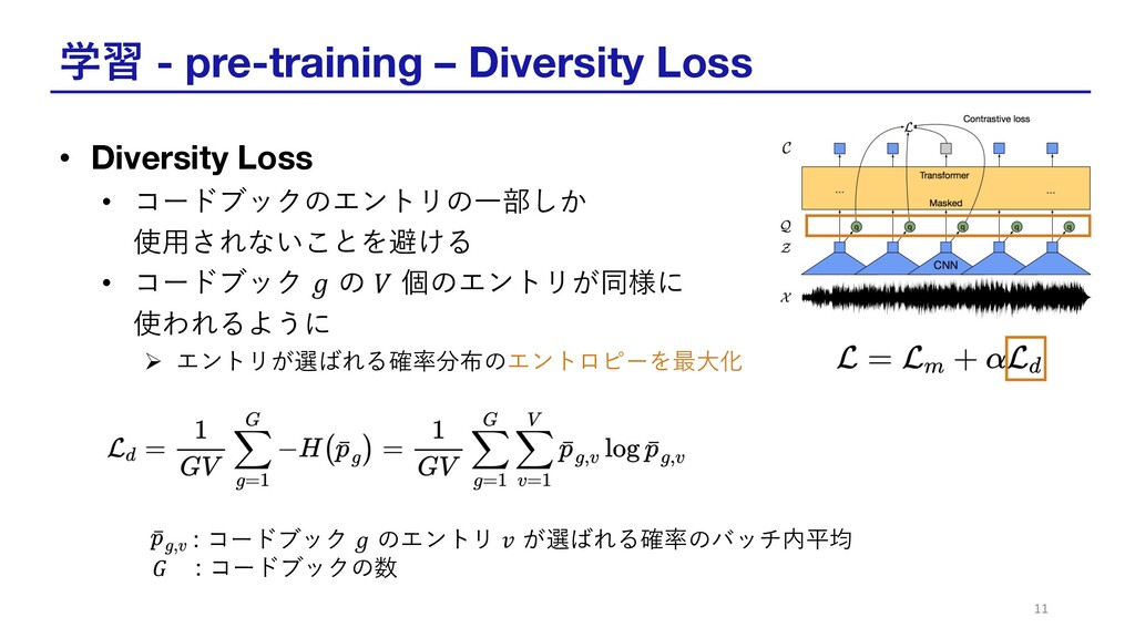 学習 - pre-training – Diversity Loss • Diversity ...