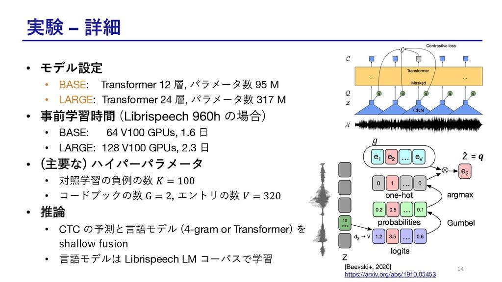 実験 – 詳細 • モデル設定 • BASE: Transformer 12 層, パラメータ...