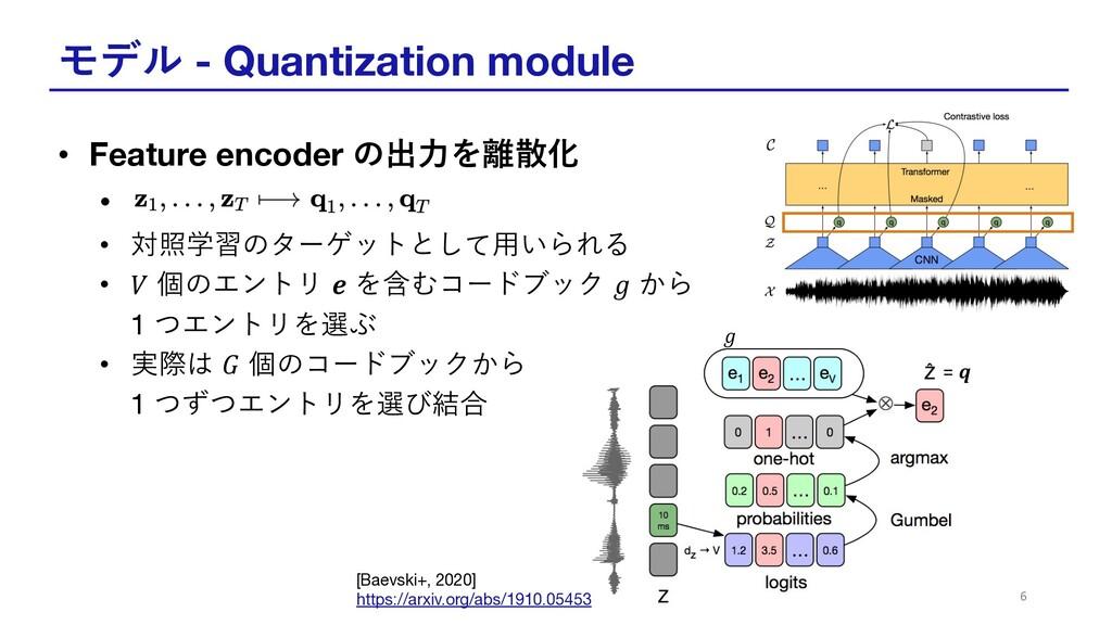 モデル - Quantization module • Feature encoder の出⼒...