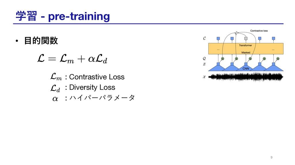 学習 - pre-training • ⽬的関数 : Contrastive Loss : D...