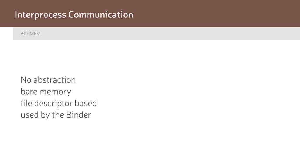 ASHMEM Interprocess Communication No abstractio...