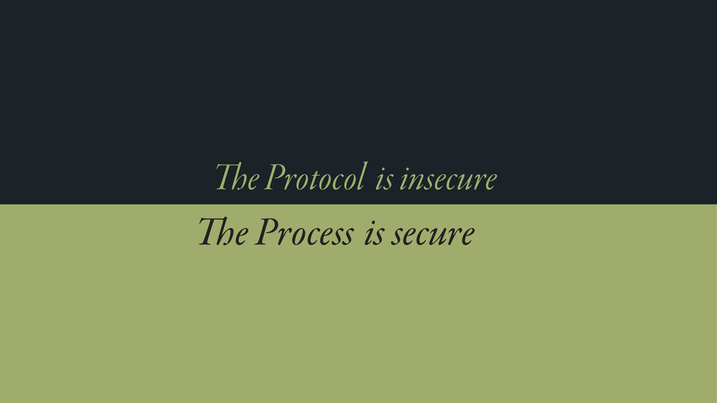 e Protocol e Process is insecure is secure