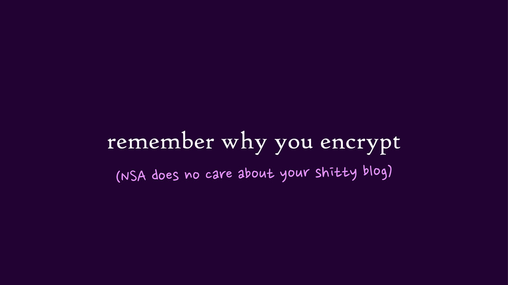 remember why you encrypt (NSA