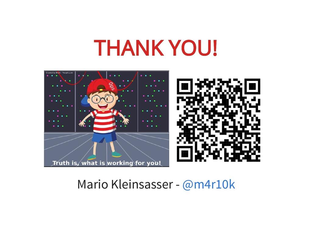 THANK YOU! THANK YOU! Mario Kleinsasser - @m4r1...