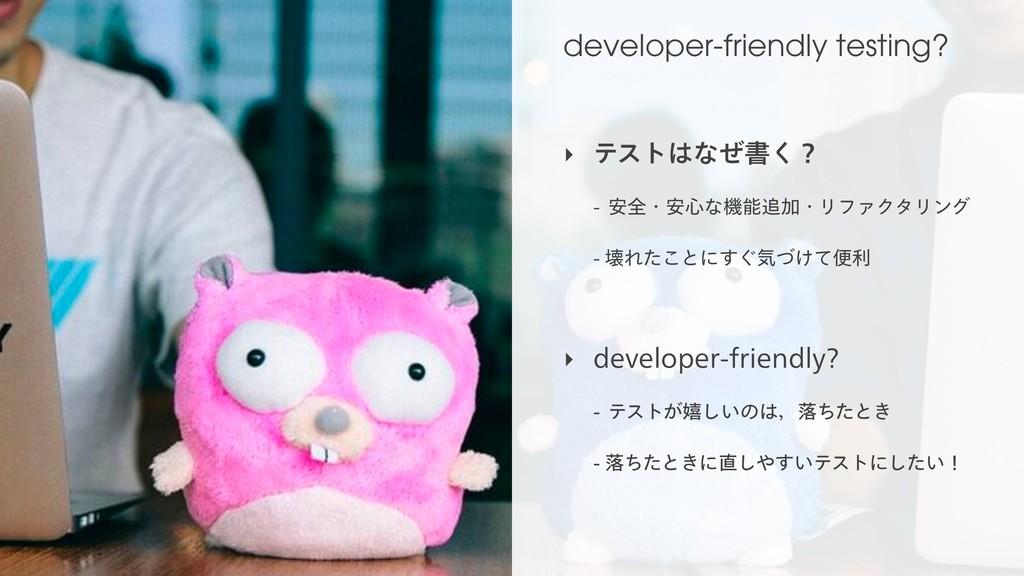 developer-friendly testing? ‣ ςετͳͥॻ͘ʁ  ҆શɾ...