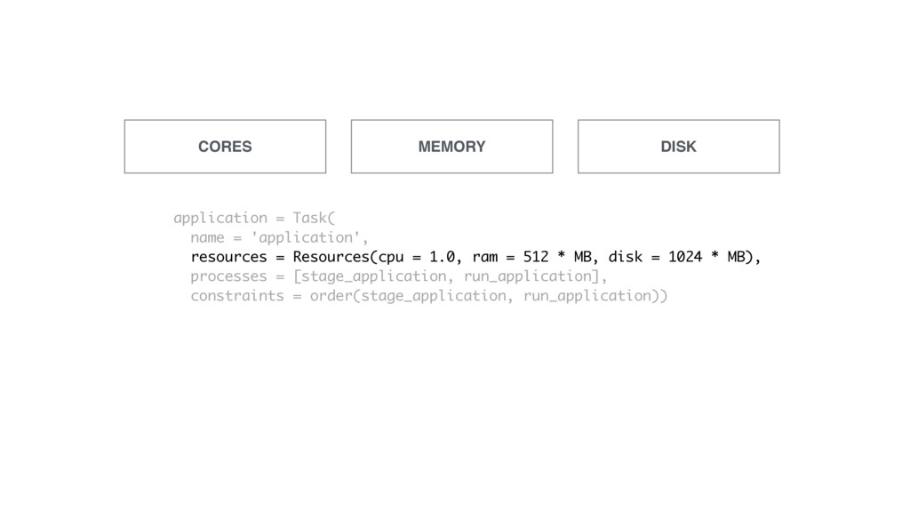 CORES MEMORY DISK application = Task( name = 'a...