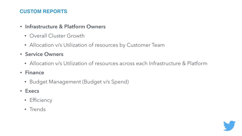 CUSTOM REPORTS • Infrastructure & Platform Owne...