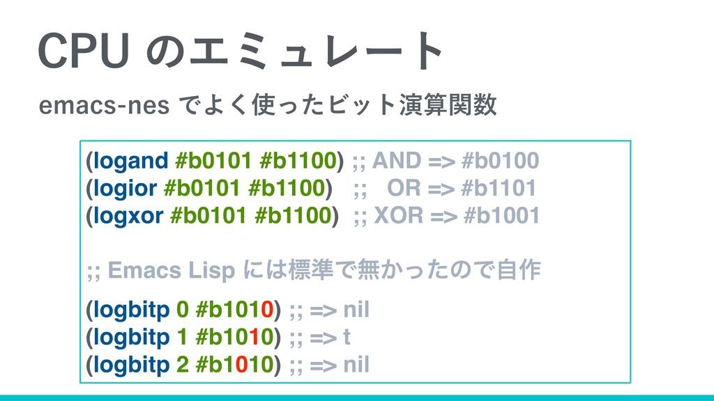 $16ͷΤϛϡϨʔτ (logand #b0101 #b1100) ;; AND => #b...