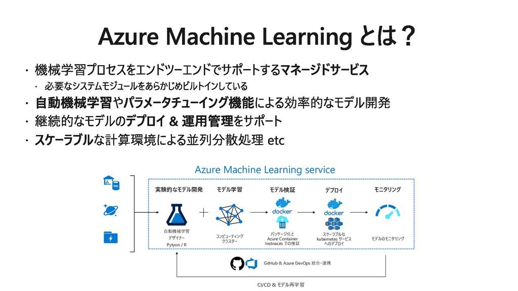 Azure Machine Learning service 実験的なモデル開発 ⾃動機械学習...