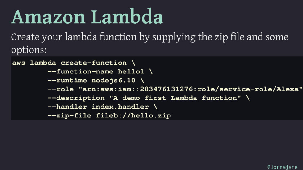 Amazon Lambda Create your lambda function by su...