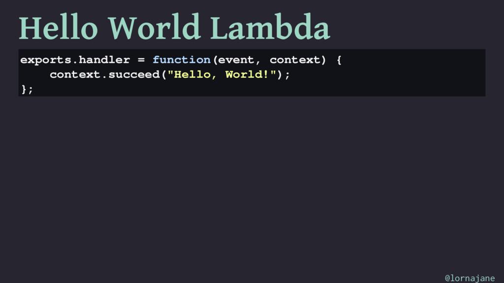 Hello World Lambda exports.handler = function(e...