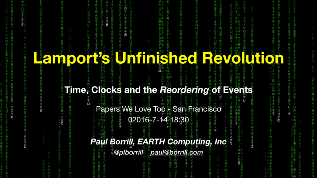 Time, Clocks and the Reordering of Events Paper...