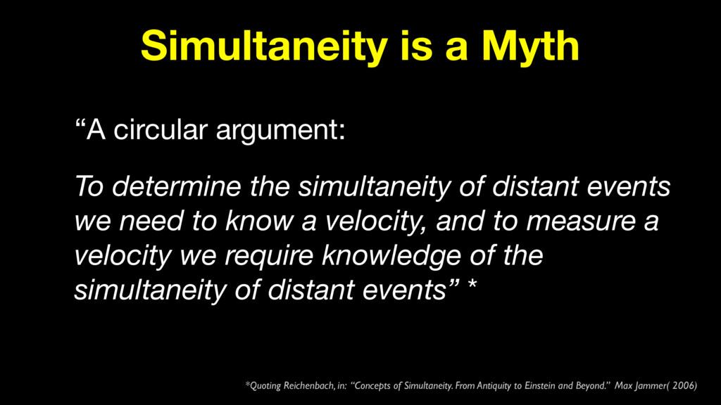 """Simultaneity is a Myth """"A circular argument:  T..."""