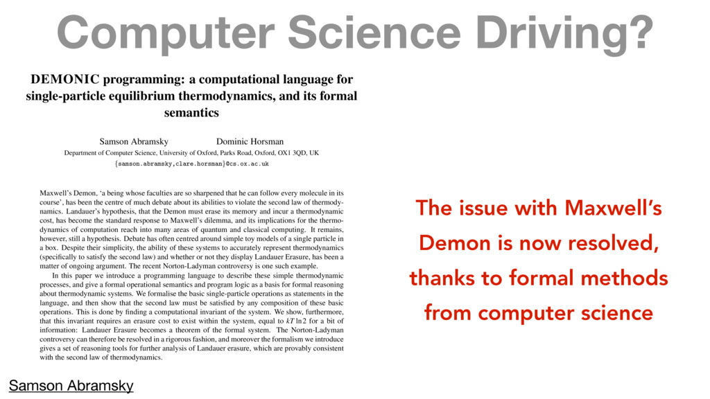 Computer Science Driving? DEMONIC programming: ...