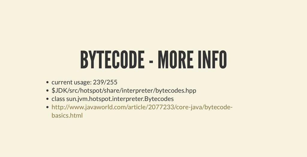 BYTECODE - MORE INFO BYTECODE - MORE INFO curre...