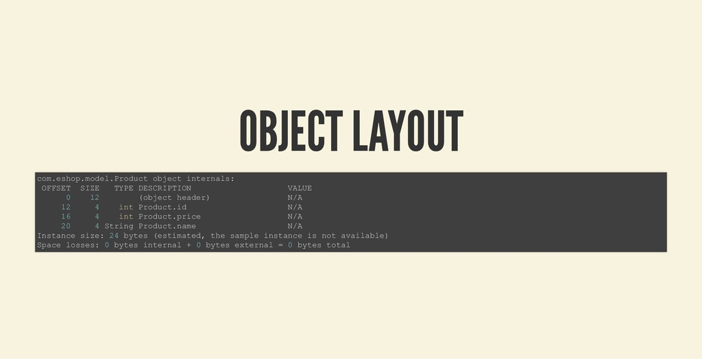 OBJECT LAYOUT OBJECT LAYOUT com.eshop.model.Pro...