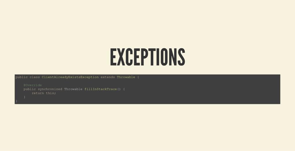 EXCEPTIONS EXCEPTIONS public class ClientAlread...
