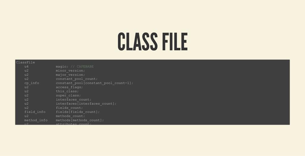 CLASS FILE CLASS FILE ClassFile u4 magic; // CA...