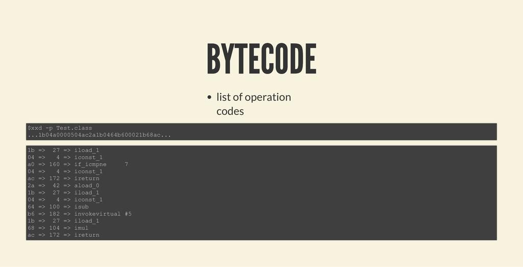 BYTECODE BYTECODE list of operation codes $xxd ...