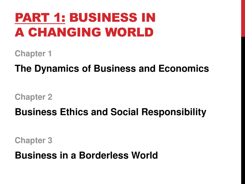 PART 1: BUSINESS IN A CHANGING WORLD Chapter 1 ...